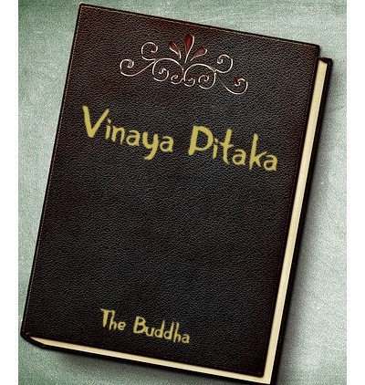 A leather bound book cover with Vinaya Pitaka title