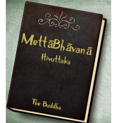 Leather book cover with MettaBhavana written in gold