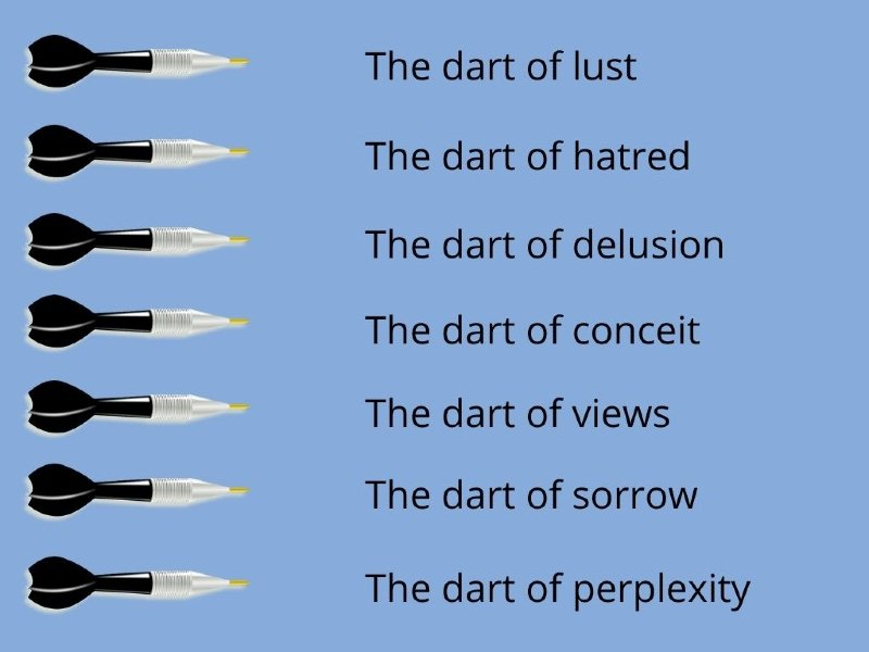 A chart with ten darts which show the ten darts of suffering in Buddhism